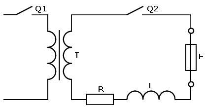 Схема для экспериментального определения интегралов Джоуля предохранителей